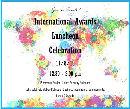 International Awards Luncheon Invite