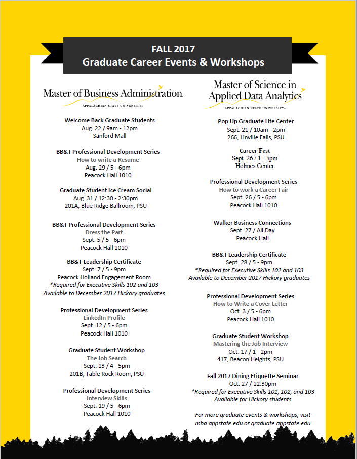Graduate Career Events - Fall 2017