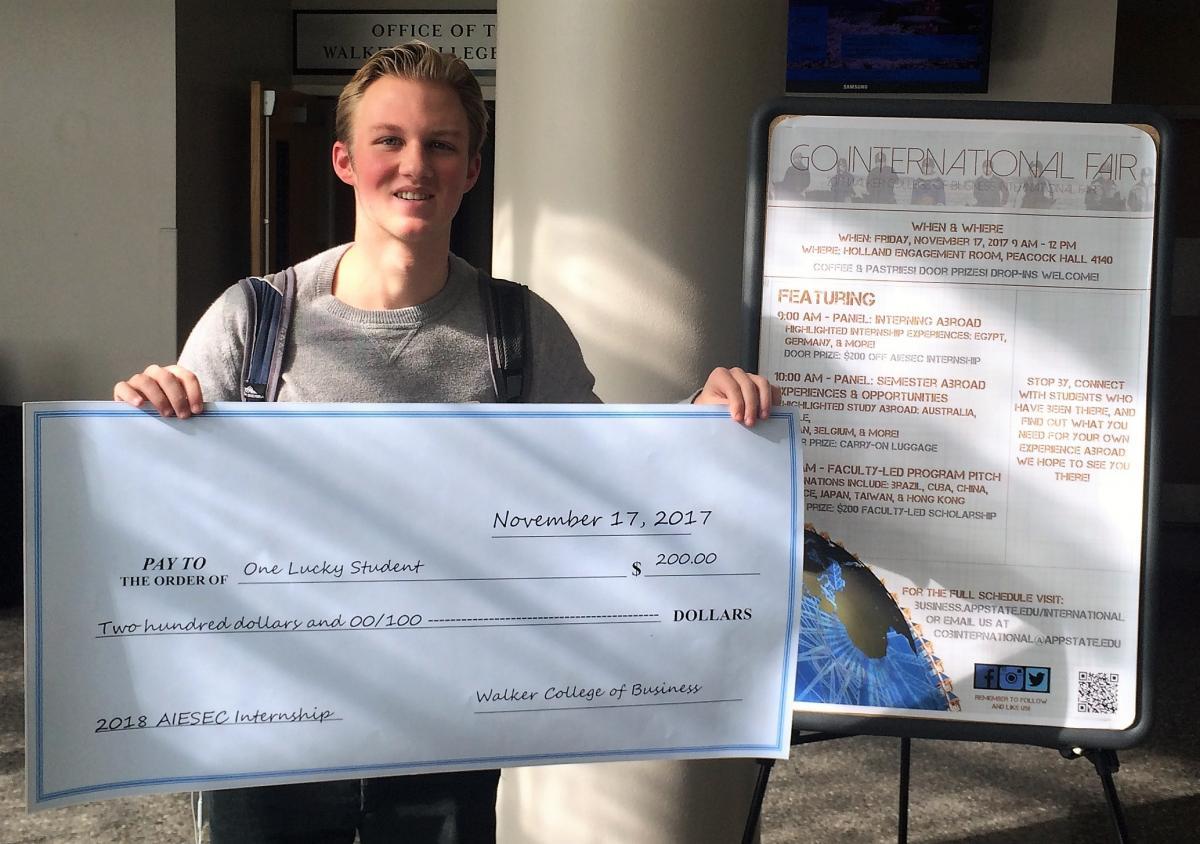 Jack Abrams wins the $200 toward an AIESEC internship