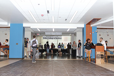 students in Peacock Hall