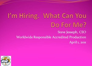 I'm Hiring. What can you do for me? presentation graphic