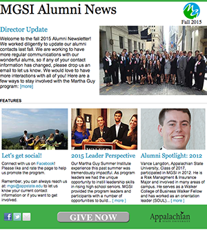 front page of MGSI alumni nesletter