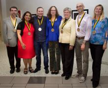 Sywassink Award winners from Appalachian State University's Walker College of Business are, from left, Greg Langdon, Jamie Parson, Onur Ince, Jane Fitchlee, Dawn Medlin, Jesse Pipes and Pia Albinsson. (Photo by Sabrina Cheves)