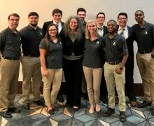 (AppState at 2019 IIANC InsurExpo:  L-R:  Greg Langdon, Alex Finney, Amber Guiliano, Sean James, Dr. Lori Medders, Tanner Rutherford, Anna Otto, Harrison Cameron, William Chisholm, Roberto Sibrian and Matthew Scott)