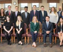 Pictured: Standing(left to right) Matt Dull, Dean Heather Norris, Jack Emerson, Nelson Russ, Javon Nathaniel, Brandon Wilkerson, David Bagnal, Marie-Ejalai Isikhuemen, Jesse Pipes, Dr. Betty Coffey, Dr. Martin Meznar; Seated(left to right) Jessica Robinson, Emily Turner, Kathryn Armstrong, Ary Bautista, Alia Dahlan. Not pictured: Jordan Salamido