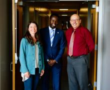 Dr. Olanrewaju Olaoye, center, with Meredith Church Pipes and Martin Meznar in Appalachian's Walker College of Business