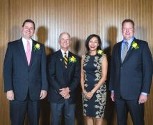 From left, D. Kenan Smith of Salisbury, James M. Deal Jr. of Boone, Susan Branch of Charlotte and E. Hayes Smith of Salisbury were honored by Appalachian State University and its Alumni Association. Deal received the Distinguished Alumni Award; Kenan Smith and Hayes Smith received an Outstanding Service Award; and Branch received the Young Alumni Award. Photo by Marie Freeman
