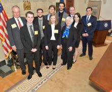 Appalachian State University economics professor Dr. Mark Strazicich, left, and Federal Reserve Board Chair Janet L. Yellen, front row, right, with the Appalachian team that competed in the College Fed Challenge. In the Board of Governor's meeting room prior to the competition are, from left, Ben Sullivan of Ashburn, Virginia; Matthew Hawks of Mount Airy; Jacqueline Hundley of Cary; Federico Pigozzi, Trieste, Italy; Anthony Santelle of Waxhaw; Bobby Weant of Salisbury; Jessica Robinson of Cary; and Roberto