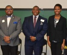 Dejon McCoy-Milbourne serves as the moderator during the Courageous Conversations event at Appalachian State University with panelists Houston Sloan, Dylan Galloway, Troi Robinson-Moss and Kendrick Tillman. Photo by Kayla Lasure, Watauga Democrat