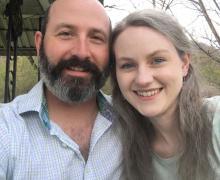 Bev Tie inventors Reuben and Keri Anna Kelley Hollifield