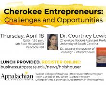 "Registration now open for ""Cherokee Entrepreneurs: Challenges and Opportunities"" April 18 Lunch and Learn"