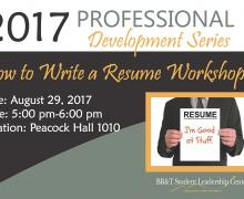 Walker College to offer six-part professional development series through BB&T Student Leadership Center