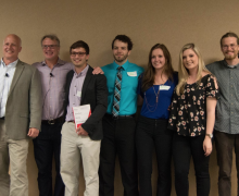 Winning students pictured with Entrepreneurship Director Erich Schlenker (left) at Appalachian's 2017 Big IDEA Pitch Competition