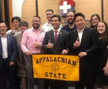 A delegation from Appalachian State University visits NIDA Business School in Thailand during a January 2019 study abroad trip.
