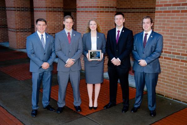 From left are Appalachian undergraduates Mac Shelton, Charles Plummer, Hollie Brown, John Mosser and Jarrett Jacumin