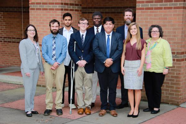 IMA Scholarship winners stand with Walker College Dean Heather Norris, left, accounting professor Kim Zahller, right, and Department of Accounting Chair Doug Roberts (back row, right)