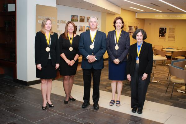 Sywassink Award winners from the Walker College of Business are Haley Childers, left, Rachel Keller, Ron Marden, Carol Kline and Betty Coffey. (Photo by Sabrina Cheves)