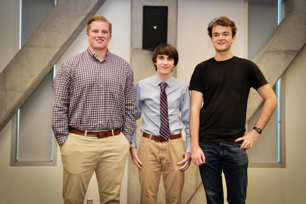 Pictured, from left to right, are 2017 Big Idea Pitch Competition winners Greer, third place, Barbee, first place, and Walters, second place. Photo by Sabrina Cheves