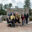 Walker College of Business Dean Heather Norris is pictured, fourth from right, with members of the 2018-19 administration on the newly developed Founders Plaza on September 5, 2018.