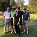 Former chancellor Ken Peacock, left, and Walker College Dean Heather Norris, center, are pictured with '86 accounting alumni John Barrow, Dennis Giff and Marshall Croom. The three alumni are playing with Peacock, their former professor, in today's Beroth Scholarship Golf Tourney.