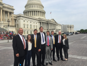 From left: Former Brantley Center Board of Advisors Member Bo Walker, McKenzie Siner, David Marlett, Luke Mulvey, John Robinson, Caleb Hardee, Brantley Center Board of Advisors Member Neil Annas, Christy Simpers