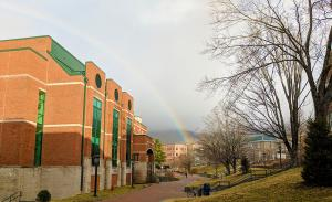 The weather is predictably unpredictable, and -- as Appalachian State University students and faculty can attest -- seemingly more so in Boone, North Carolina, than in other locales. A February morning is captured in this photo by MBA alumnus and Appalachian assistant marketing director Chris Grulke '18. Grulke snapped the picture of Peacock Hall during unseasonably pleasant weather, around 52 degrees at approximately 10:00 a.m. on February 5, 2019. The path to Peacock Hall (and perhaps a pot of gold?) is b
