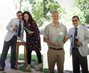 Dr. Panwar presents Green E Awards to Dr. Heather Dixon-Fowler (left), and Dr. Whitehead.