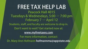 FREE TAX HELP LAB Peacock Hall 4015 Tuesdays & Wednesdays, 5:00 – 7:00 pm February 7 – April 12