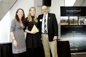 2009 alumna Sarah Freed, center, was honored for her exceptional positive international impact during the 2016 Walker College International Awards Celebration