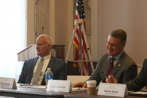 Erich Schlenker, director of the Appalachian State University Transportation Insight Center for Entrepreneurship, sits beside discussion leader Sen. David Perdue, R-Ga., during the Appalachia Task Force discussions in Washington, D.C., May 23.