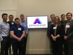 From left: Dalton Stout, Lucas Stinson, Avery Dobbins, Daniel Paprocki, Ed Hassler, Brandy Hadley, Dan Emery and Joseph Cazier during the 2018 Appalachian Research in Business Symposium