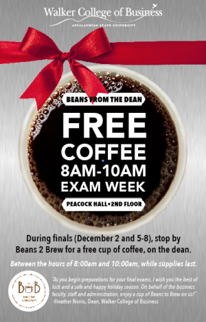 Walker College of Business Beans from the Dean Dec. 2, 5-8