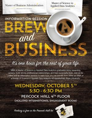 Brew & Business: date set for MBA and MS Applied Data Analytics information session