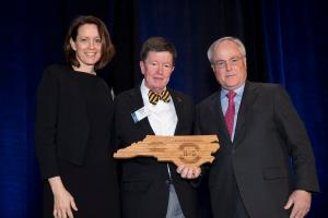 Dr. Carol Kline of Appalachian State University, Dr. Dana Clark of Appalachian State University (2018 Winners Circle Award Recipient), North Carolina Department of Commerce Secretary Tony Copeland (Photo by North Carolina Tourism)