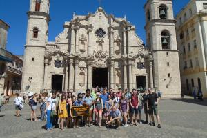 The group poses in front of La Catedral de la Virgen María in Old Havana — one of 11 Roman Catholic cathedrals on the island of Cuba. Photo by Rachel Shinnar