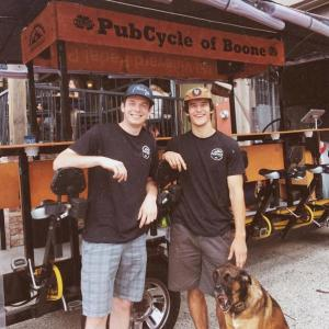 Appalachian alumni Caleb McGuire (left) and Christian Houpe started PubCycle of Boone in May 2018.