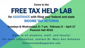 Free tax help for Appalachian students, faculty and staff