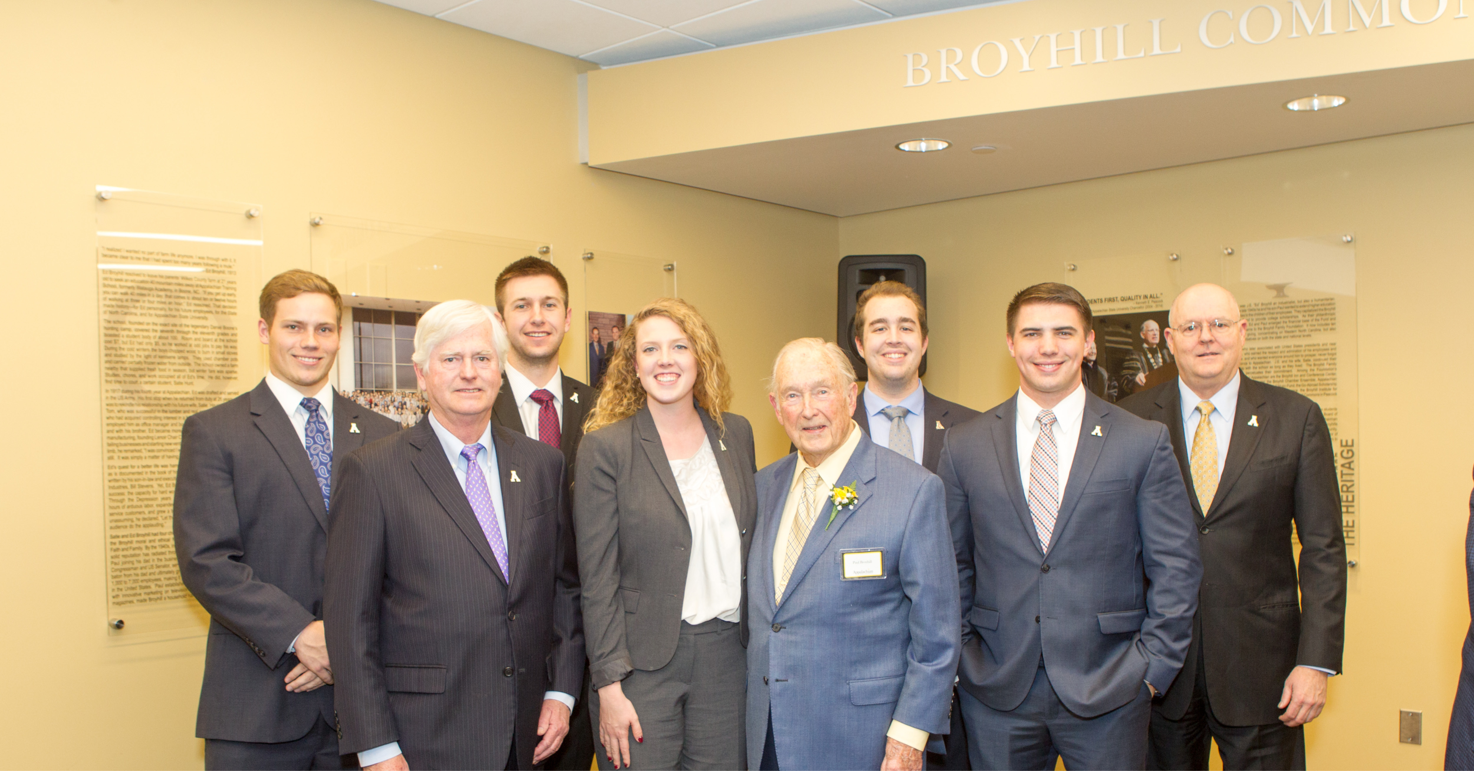 Paul Broyhill (center) stands with the current Broyhill Fellows and their advisors during the March 8 naming ceremony for the Broyhill Commons at Appalachian State University.