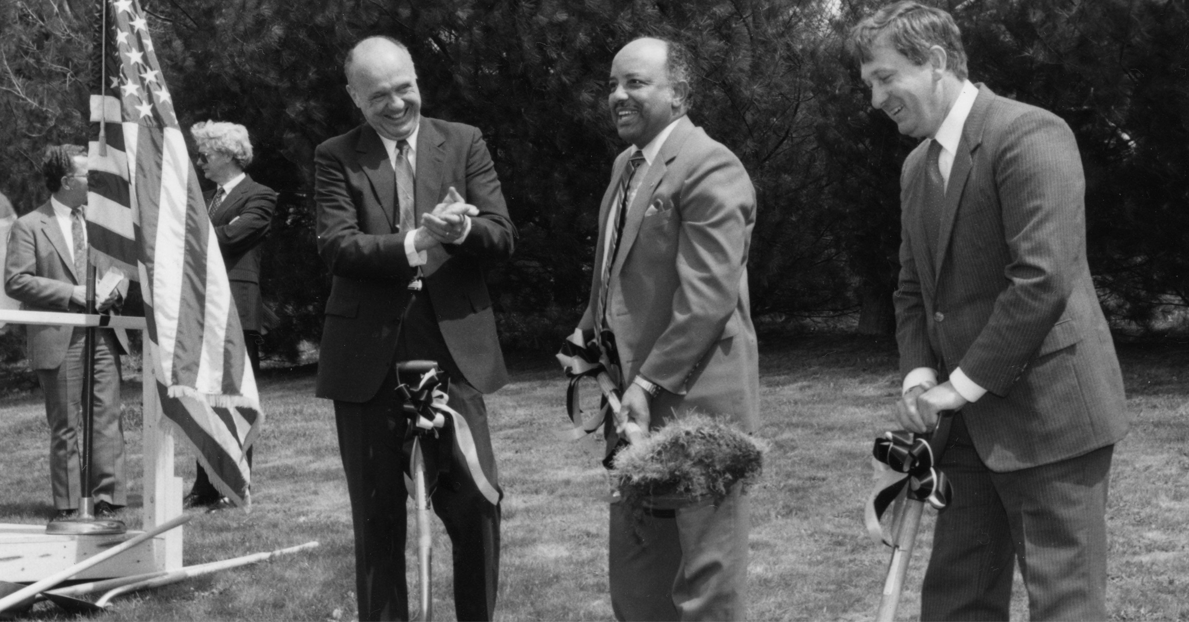This image shows the groundbreaking ceremony for Thelma C. Raley Hall, completed 1990, at Appalachian State University (1967-current) in April 1988. Chancellor John E. Thomas (1979-1993) stands second from the left while Board of Trustee member Richard Da
