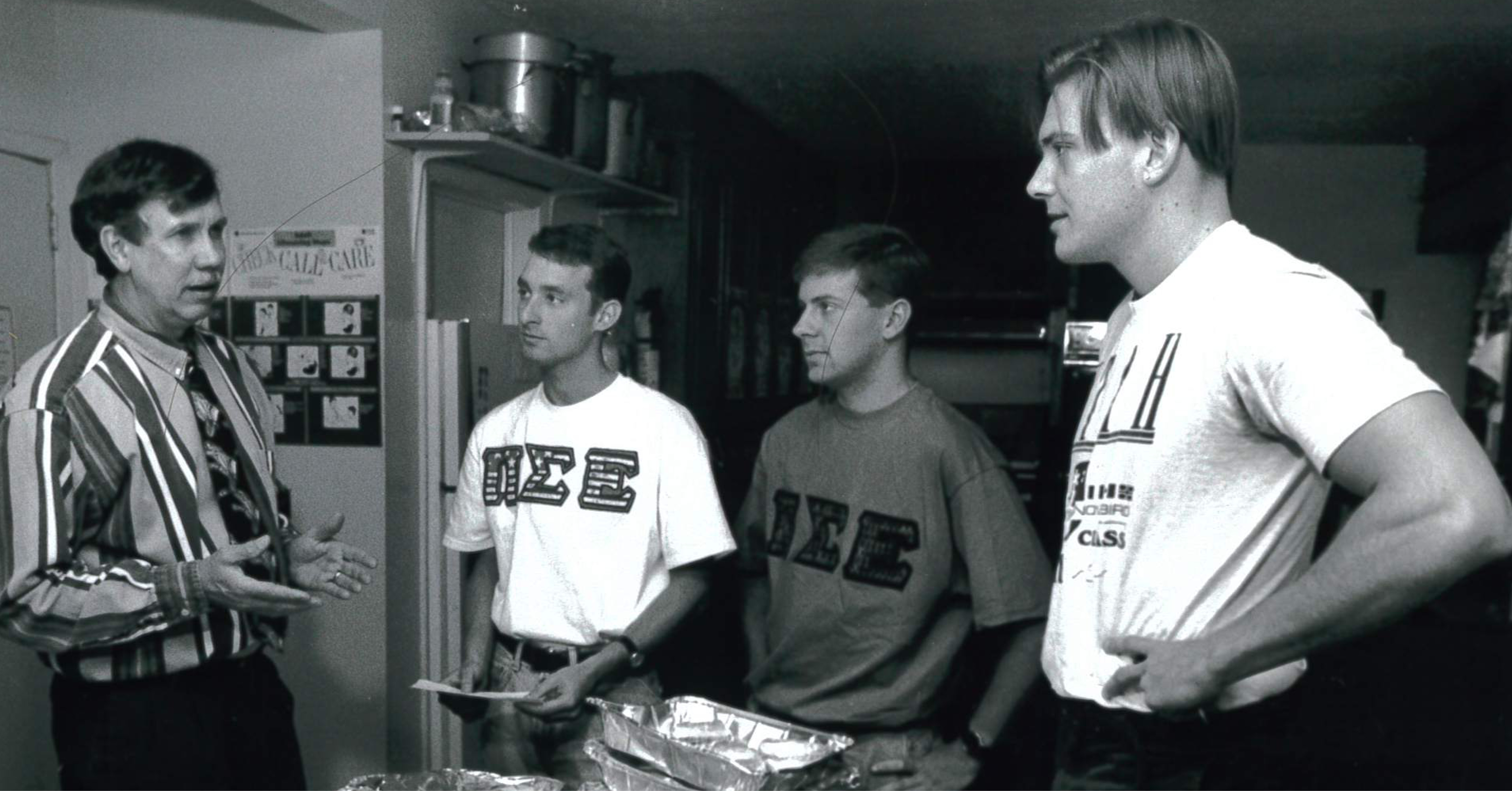 May 1995 Pi Sigma Epsilon students delivering food from cafeteria to Jim Thompson at the Hospitality House