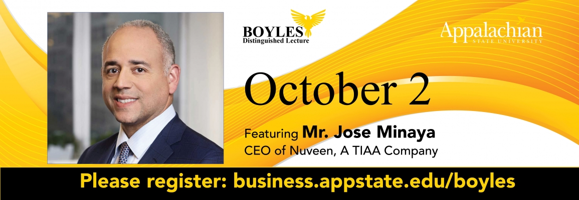 Boyles Lecture to be held Oct. 2; please register at business.appstate.edu/boyles