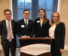 From left, Appalachian State University students James Marlowe, John Rucker, Jewell Ward and Ana Silverstein compete in UGA Stock Pitch Challenge