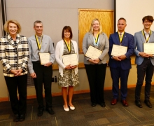 Appalachian Chancellor Sheri Everts, far left, with the faculty members recognized during the university's Fall 2019 Faculty and Staff Meeting held Friday, Sept. 6, on Appalachian's campus. Professor of accounting Ken Brackney is second from left.