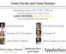 Holshouser Ethics Luncheon on Green Faculty and Green Business to be held January 29