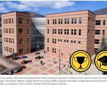 Students are pictured in 2018 outside Appalachian State University's Kenneth E. Peacock Hall, which houses the university's Walker College of Business. Walker College and its on-campus MBA program have been recognized among the best in the nation for 2021, according to The Princeton Review.