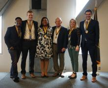 Plemmons Leadership Medallion recipients pose with their awards during the Student Affairs Leadership and Legacy awards ceremony on April 26 in Appalachian's Plemmons Student Union. Pictured, from right to left, are Appalachian alumni Roy Dale Cox '19 and Jon Garst '19; Traci Royster, director of staff development and strategic initiatives; Dr. Harry Davis, the NCBA Professor of Banking in Appalachian's Department of Finance, Banking and Insurance; Nikki Crees, executive director of University College's ori