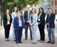 The winners of the Walker College of Business' 2019 Sywassink Awards for Excellence. Pictured, from left to right, are Amy Odom '03, Dr. Rachel Shinnar, Dr. Mary Stolberg '14, Dr. Peter Groothuis, Dr. Pennie Bagley, Michelle Boisclair and Dr. Dana Clark.