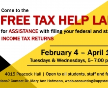 Accounting students provide free tax help for Appalachian community members through April 15