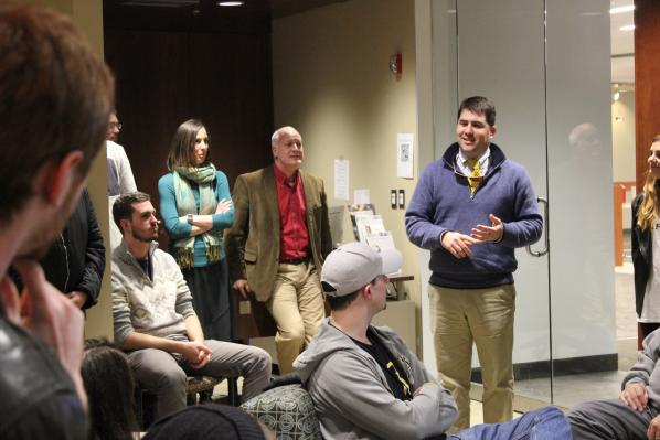 James Milner, right, speaks to students in Appalachian State University's Association of Student Entrepreneurs