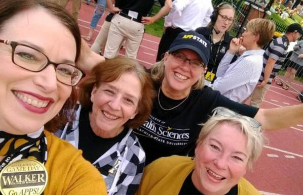 Dean Heather Norris with colleagues at Walker College Game Day / Appalachian Homecoming 2017